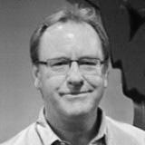 Black and white portrait of Graeme Evans