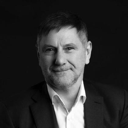 Black and white image of Steve Evans