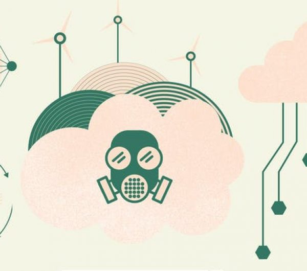 Poster design that has illustrations of masks, wind turbines and sky