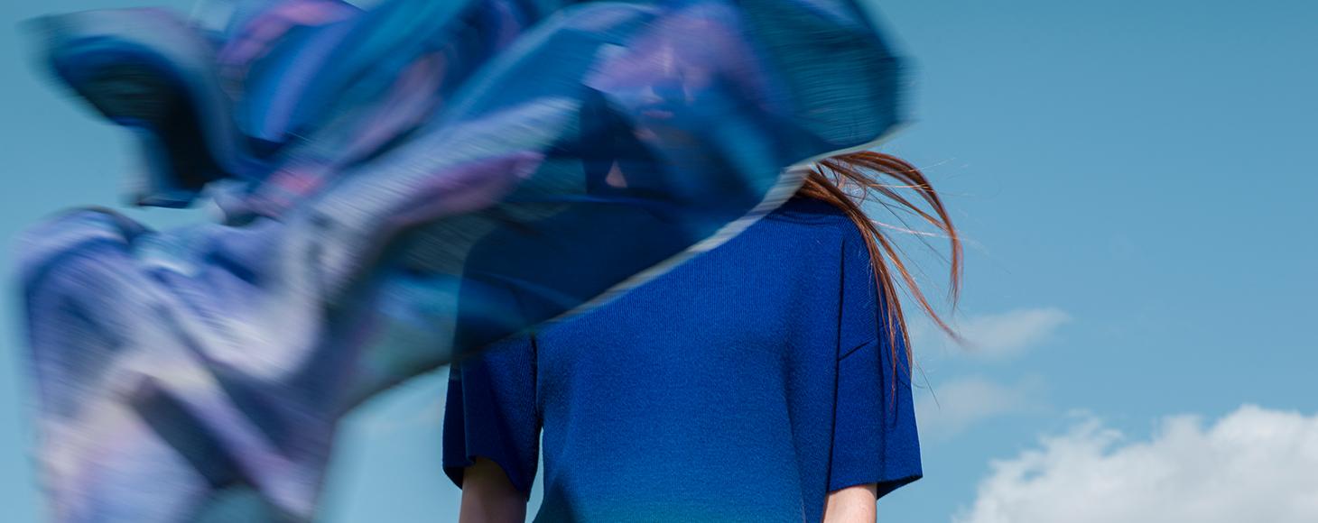 A blue dress in close up details