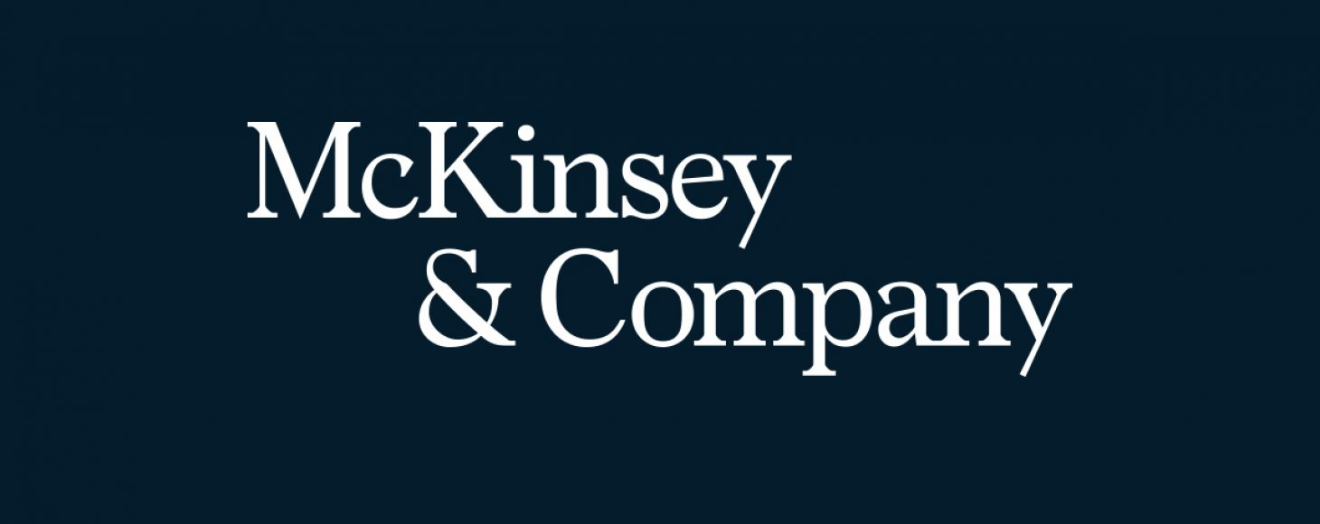 McKinsey & Company logo displayed in white with a dark blue background