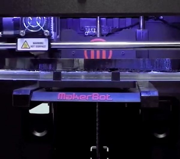 A 3d printer is shown in detail
