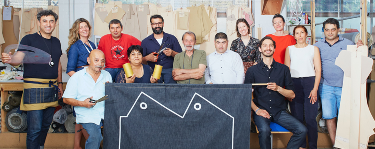 Team members of Blackhorse Lane Ateliers with their tools - a sustainable denim manufacturers