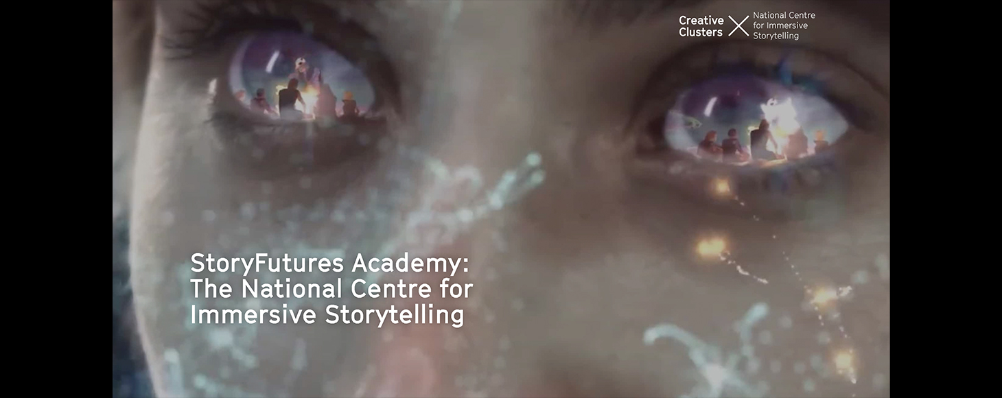 Banner design by Story Futures Academy - a persons' eyes are shown in details