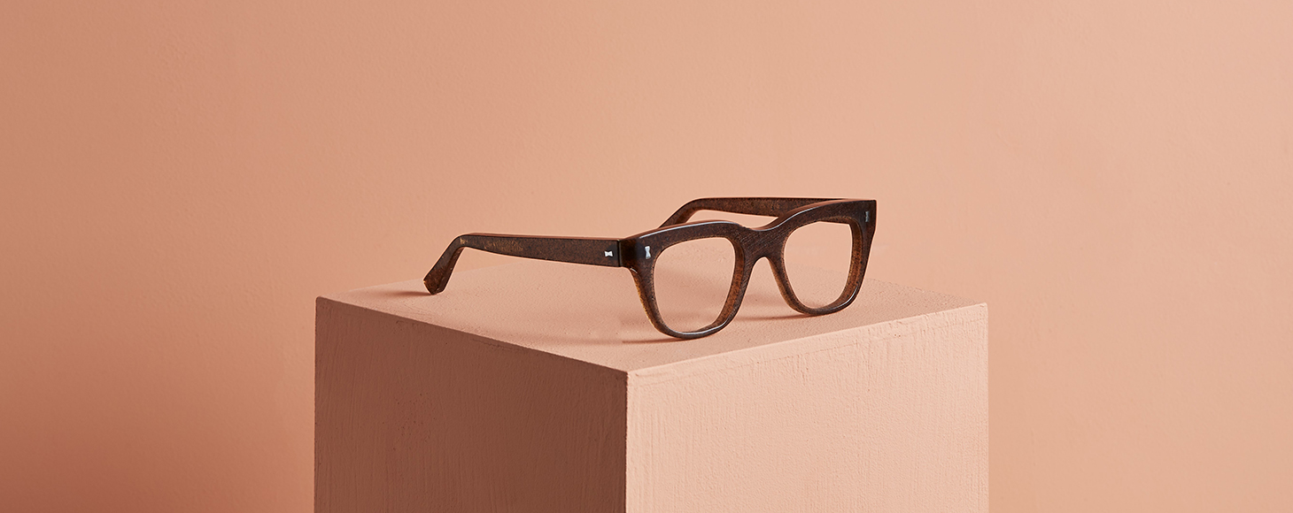 Glasses made of parblex, a material grown using potato peels