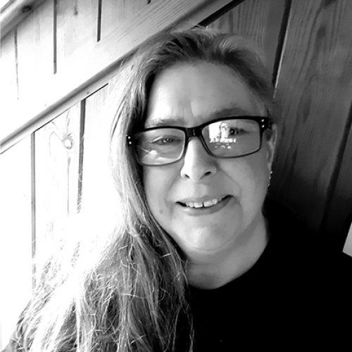 Black and white portrait of Philippa Brock
