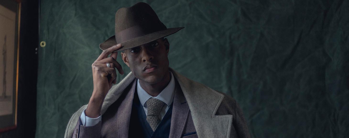 A male model in woven fine suit