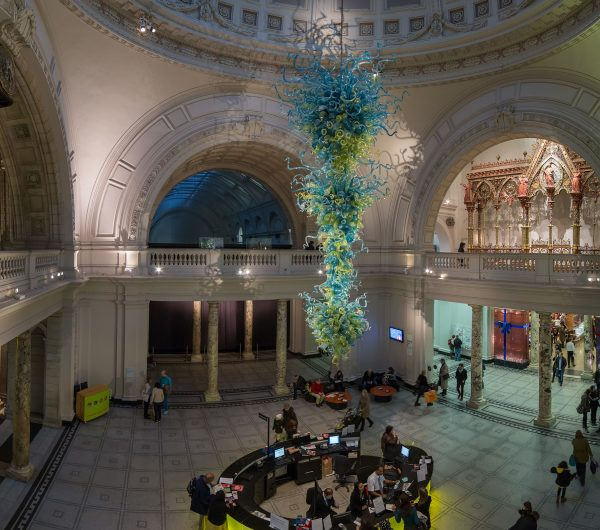 V&A Museum Foyer with a glass installation
